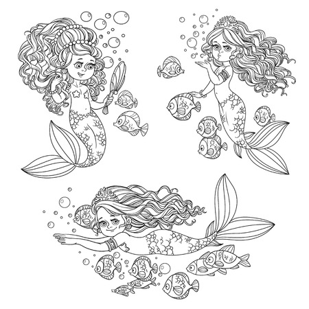 Beautiful mermaid girls outlined set  for coloring page isolated on a white background