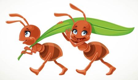 Dwie mrówki kreskówka niosą zielone soczyste źdźbło trawy na białym tle na białym tle