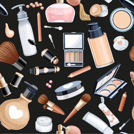 Seamless pattern from objects cosmetics cream, eye shadow, face powder, brush, foundation cream, Mascara on a black background.