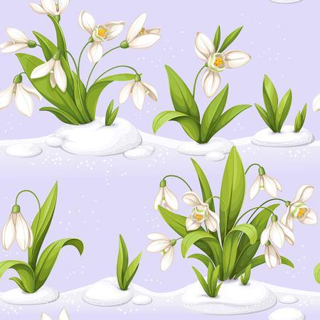 雪滴繰り返しシームレスなイラストと花。  イラスト・ベクター素材