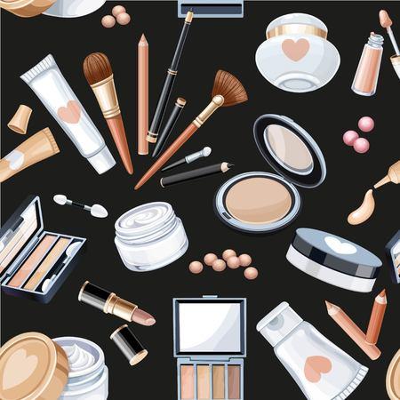 Seamless pattern from cosmetics objects pencil, brush, blush, lipstick, mascara on a black beauty background.