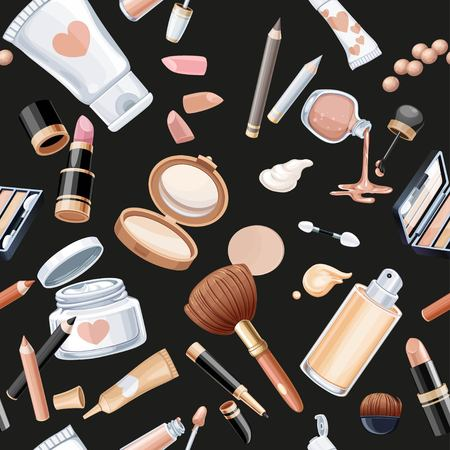 Seamless pattern from cosmetics objects cream, face powder, lipstick, brush, foundation cream, pencil contour on a black background.