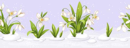 繰り返しシームレスな境界線のイラストで雪滴を持つ花。