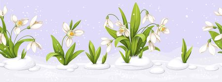 Flowers with snowdrop in repetitive seamless border illustration.