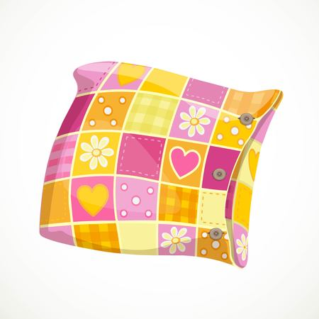 Pink soft pillow in a patterned pillowcase object isolated on a white background Illustration
