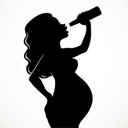 Drinking beer pregnant woman silhouette isolated on white background