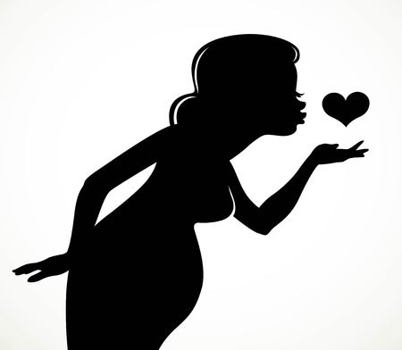 Black silhouette of a beautiful pregnant woman sending an air kiss to the heart isolated on a white background