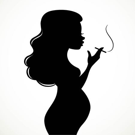 Silhouette of a pregnant woman smoking a cigarette black on a white background Illusztráció