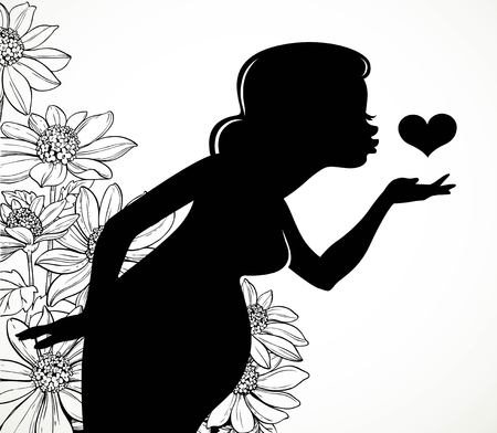 Black silhouette of a beautiful pregnant woman sending an air kiss to the heart on a fantasy flowers background 矢量图像