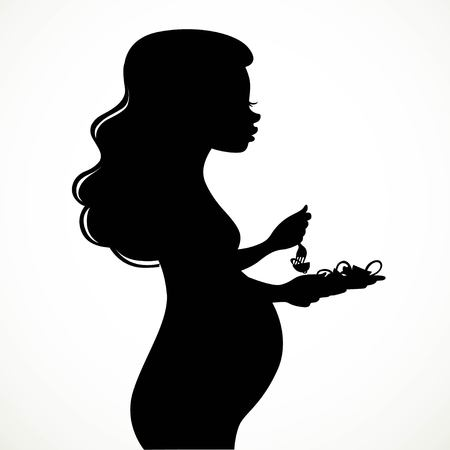 Silhouette of a beautiful young pregnant woman with lush hair eats vegetable salad isolated on white background Stock Vector - 97991878