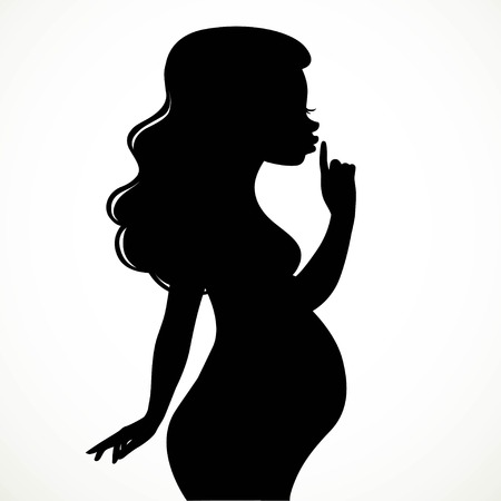 Silhouette of beautiful young pregnant woman put a finger to her lips and asked me not to reveal the secret isolated on white background
