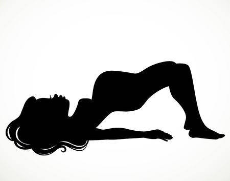 Black silhouette of a beautiful pregnant woman doing yoga training isolated on a white background