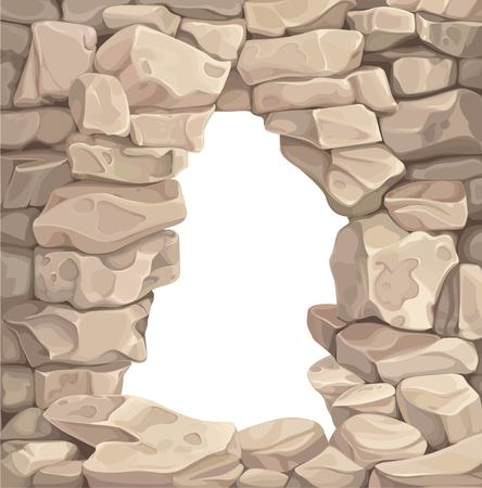 Opening in the stone wall illustration Vectores