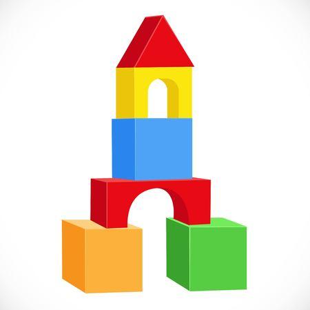 白い背景に分離された多色のおもちゃ立方体オブジェクトからの対称砲塔