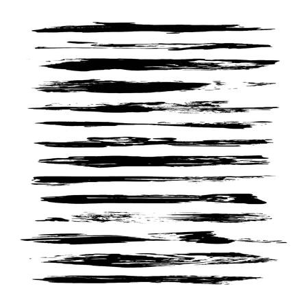 Black abstract textured thin long smears isolated on a white background