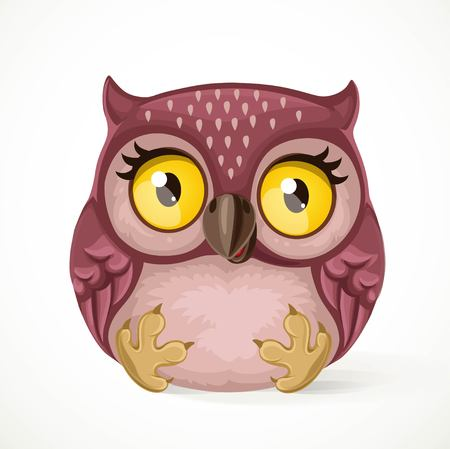Cute toy owl sitting on a white background