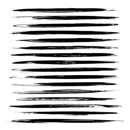 Set of black long thin abstract textured smears isolated on a white background Illustration