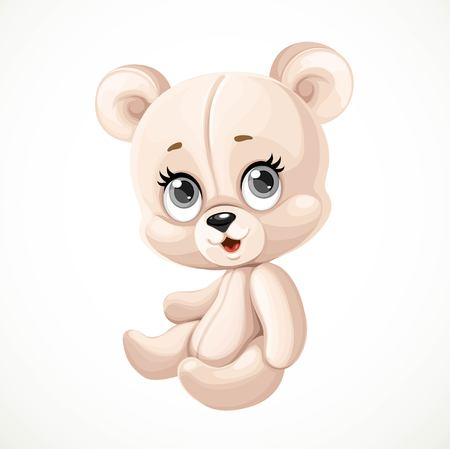 Cute toy teddy bear sit on white background Vectores