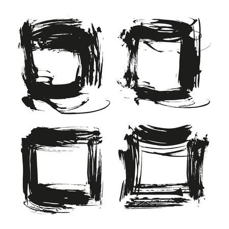 Black abstract textured square frames from thick smears isolated on a white background Illustration