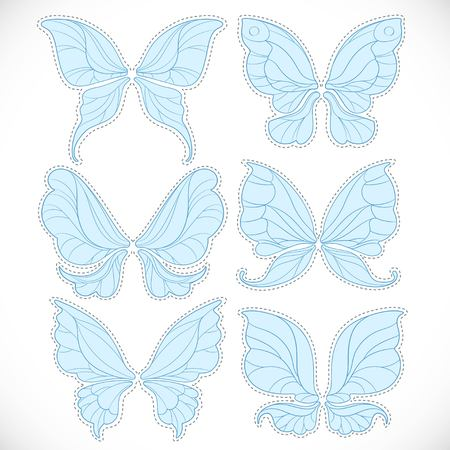 Blue fairy wings with dotted outline for cutting set 2 isolated on a white background Illustration