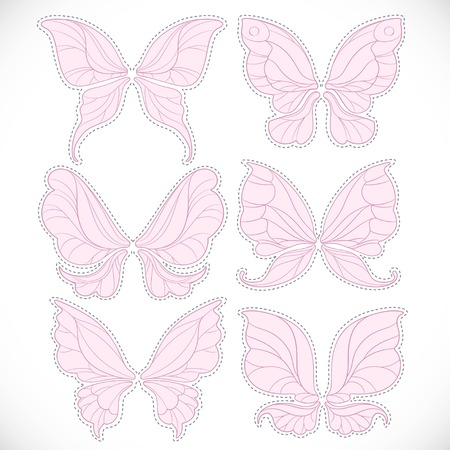 Pink fairy wings with dotted outline for cutting set isolated on a white background Ilustração
