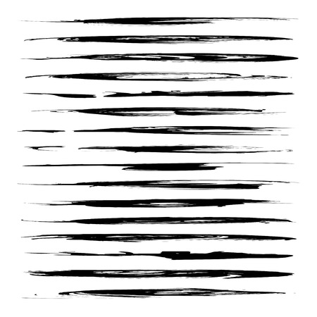 Black abstract long thin textured smears set isolated on a white background Illustration
