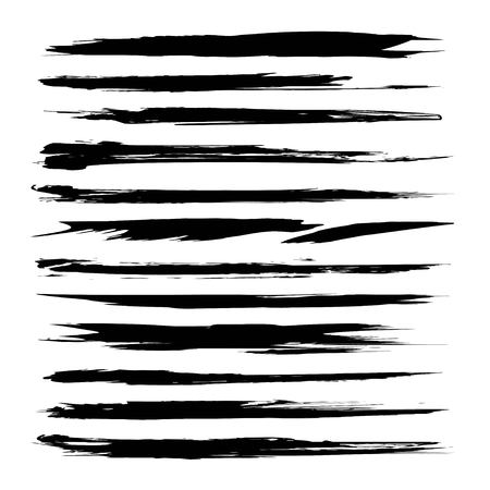 Long thin textured thick black abstract smears set isolated on a white background Illustration