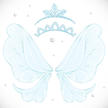 Magic fairy wings with two tiara bundled isolated on a white background Stock Vector - 111789921