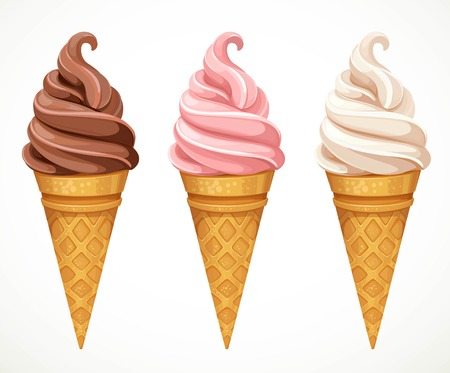 Soft ice-cream dofferent tastes in cone design elements for summer season isolated on a white background Çizim