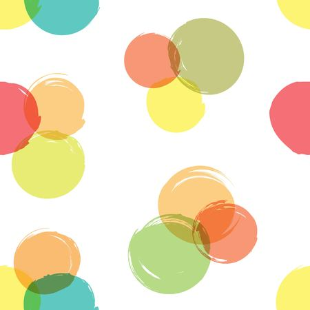 Semless pattern from abstract circles of textured smears on a white background Illustration