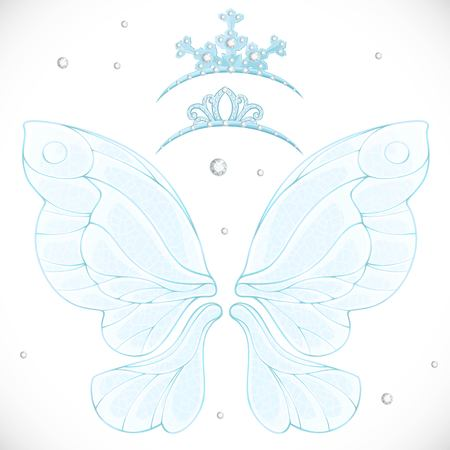 Magic fairy wings with two tiara bundled isolated on a white background Illustration