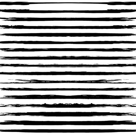 Seamless pattern from black long textured smears on a white background Ilustración de vector