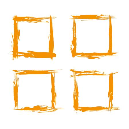 Four frames from textured orange abstract smears set isolated on a white background Illustration