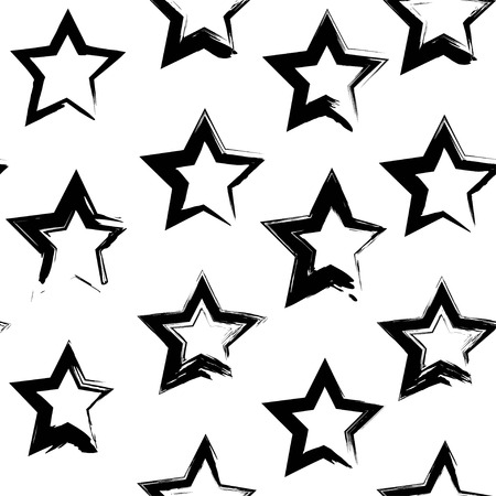 Seamless pattern from abstract black star shape textured smears  on a white background  イラスト・ベクター素材