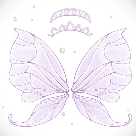Magic fairy wings with two tiara bundled isolated on a white background Stock Vector - 106810882
