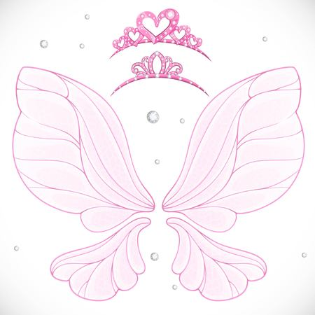 Magic fairy wings with two tiara bundled isolated on a white background Stock Vector - 111789943