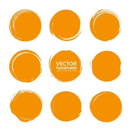 Orange round textured smears set isolated on a white background