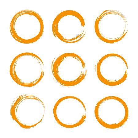 Abstract orange round textured smears set isolated on a white background