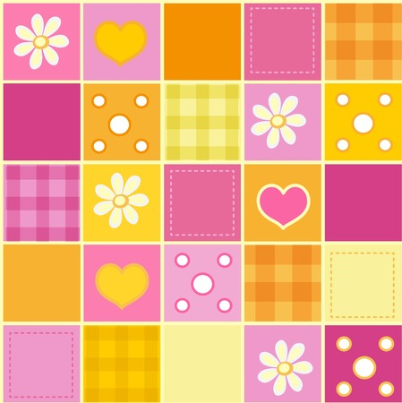 Seamless patchwork pattern in pink and orange tones