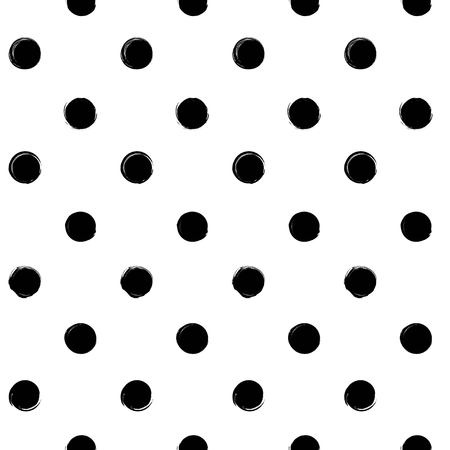Seamless pattern from black round textured smears on a white background