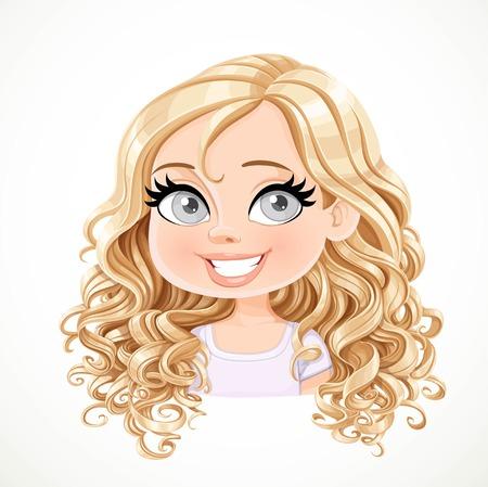 Belle fille blonde de dessin animé souriant joyeusement avec un magnifique portrait de cheveux bouclés isolé sur fond blanc