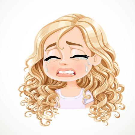 Belle fille blonde de dessin animé qui pleure inconsolablement avec un magnifique portrait de cheveux bouclés isolé sur fond blanc