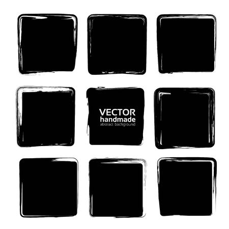 Square smears of black textured brush strokes set isolated on a white background