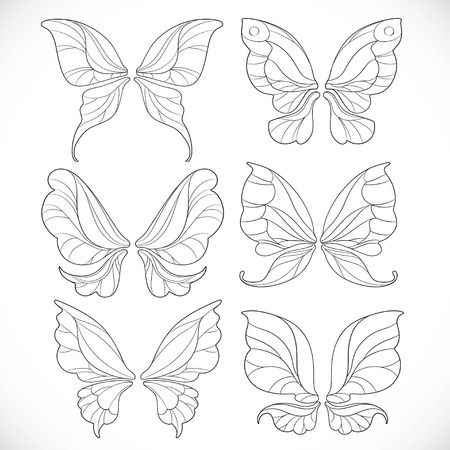 Fairy wings outlines set 1 isolated on a white background