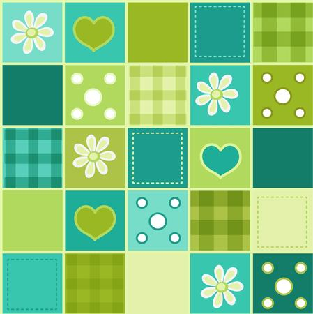 Seamless patchwork pattern in green tones Vectores