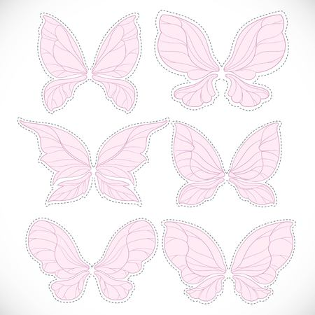 Pink fairy wings with dotted outline for cutting set 1 isolated on a white background Vettoriali