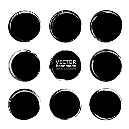 Circle black abstract textured smears isolated on a white background  イラスト・ベクター素材