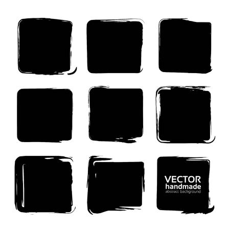 Black square smears of textured brush strokes isolated on a white background