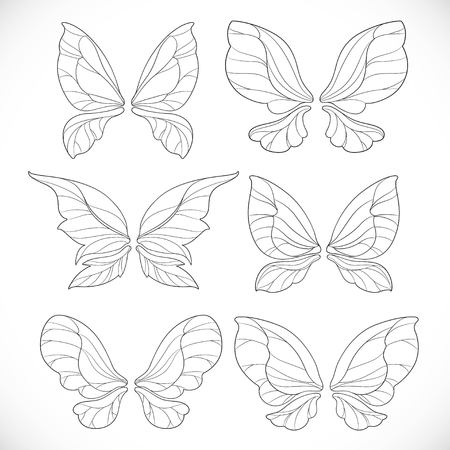 Fairy wings outlines set 2 isolated on a white background