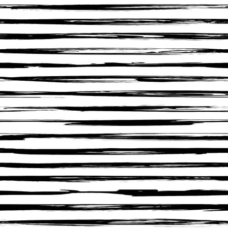 Seamless pattern from black abstract long thin textured smears on a white background